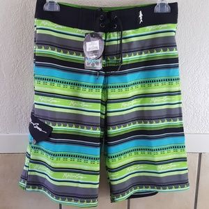 Maui and son Lime Tribal Fins Boardshorts  NWT
